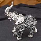 FashionCraft Medium Boho Charcoal Silver and Marble Elephant Figurine