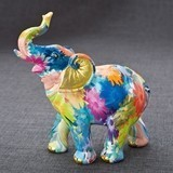 FashionCraft Rainbow Floral Colored Medium-Sized Elephant Figurine