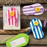 FashionCraft Colorful Striped Design Flip-Flop Luggage Tag (Set of 24)
