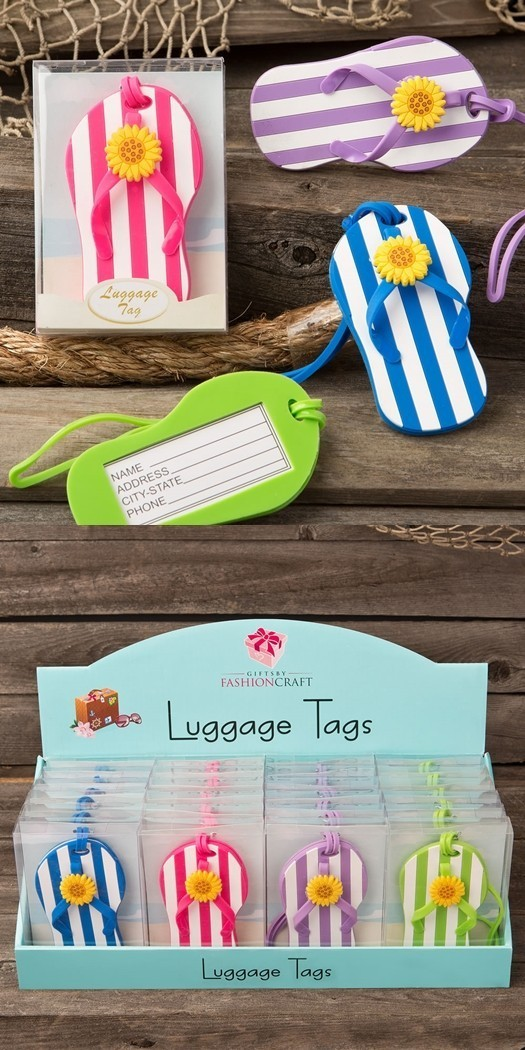 FashionCraft Colorful Striped Design Flip-Flop Luggage Tag (Set of 24)