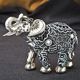 FashionCraft Boho Charcoal Fiesta Silver and Marble Elephant Figurine