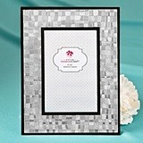 FashionCraft Stunning Silver Mosaic 4 x 6 Glass Frame w/ Black Borders