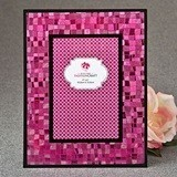 FashionCraft Fabulous Fuchsia Mosaic 4 x 6 Glass Frame w/ Black Border