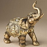 FashionCraft Medium Antiqued-Bronze Elephant with Shiny Gold Accents