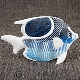 FashionCraft Sea Fish Figurine Decorative Object with Patchwork Design