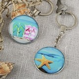 FashionCraft Fun Glass-Domed Beach-Themed Key Chains (Set of 12)