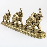 FashionCraft Triple Golden Elephants Standing in a Row Figurine