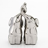 FashionCraft Small Intertwined Silver Electroplated Elephants