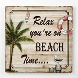 FashionCraft 'Relax, You're on Beach Time' Wood Wall Plaque