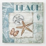 FashionCraft Seashells on the Beach Design Wood Wall Plaque