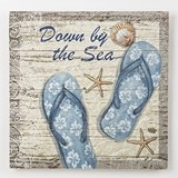 FashionCraft 'Down by the Sea' Blue Flip Flops Design Wood Wall Plaque