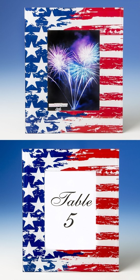FashionCraft Patriotic Stars & Stripes Flag Design 4x6 Glass Frame | Personalized Gifts and Party Favors