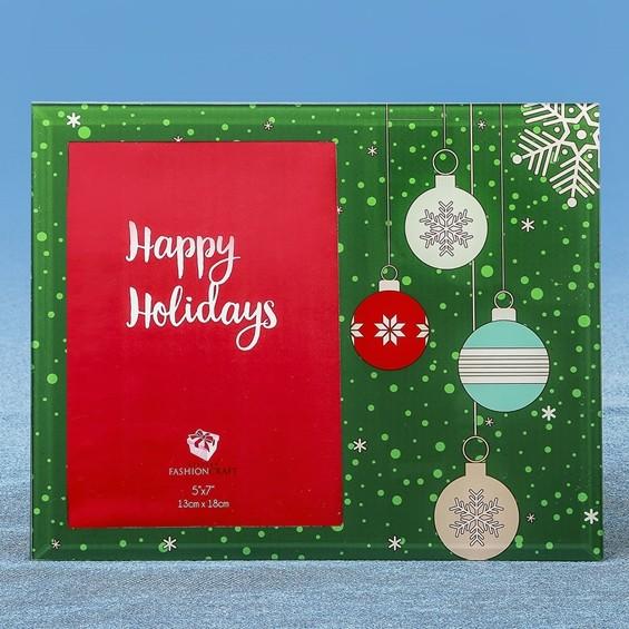 "FashionCraft ""Happy Holidays"" Ornament Motif 5x7 Glass Frame"