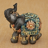Mini Size Mahogany Brown Elephant with Colorful Headdress and Blanket