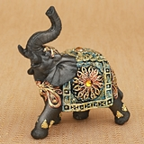 Small Size Mahogany Brown Elephant with Colorful Headdress and Blanket