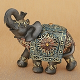 Large Size Mahogany Brown Elephant with Colorful Headdress and Blanket
