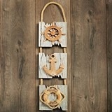 Triple Hanging Wood Plaque with Ships Wheel, Anchor, Life Preserver