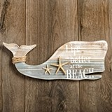 FashionCraft Wooden Whale-Shaped Wall Plaque with Starfish and Rope