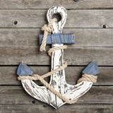 FashionCraft Distressed-Look Anchor-Shaped Wooden Wall Plaque