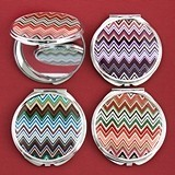 FashionCraft Colorful Chevron Design Mirror Compacts (Set of 18)