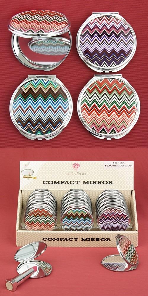 FashionCraft Colorful Chevron Design Mirror Compacts (Set of 18)