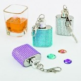 FashionCraft 'Bling Collection' Flasks with Key Chains (Set of 12)