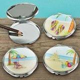 FashionCraft Fun Beach Scene Compact Mirrors (Assorted Set of 18)