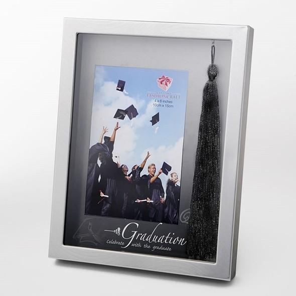 FashionCraft 4x6 Silver-Finish Graduation Frame with Real Black Tassel