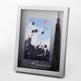 FashionCraft 4x6 Silver-Finish Graduation Frame with Real Black Tassel