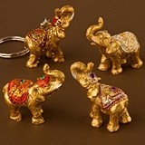 Lucky Golden Elephants with Upswung Trunks Key Chains (Set of 12)