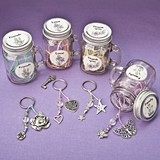 FashionCraft 'Sentiment Flowers' Mason Jars with Key Rings (Set of 12)
