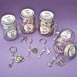 FashionCraft 'Sentiment Flowers' Mason Jars with Key Rings (Set of 12)