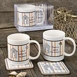 Two Nautical Mug & Coaster Sets by FashionCraft (2 Assorted Designs)