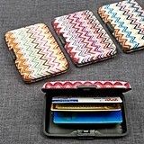 Fashionable Chevron Design Aluminum Credit Card Holder (Set of 18)