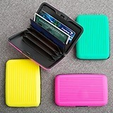 Neon-Silicone-Wrapped Aluminum Credit Card Holder (Set of 18)