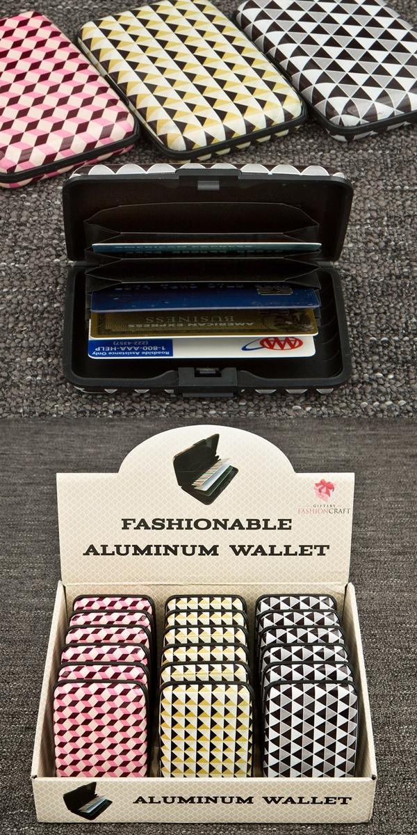 FashionCraft Geometric Design Aluminum Wallets (Set of 18)