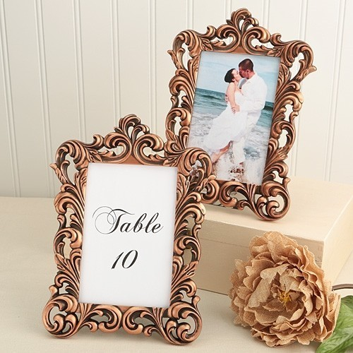 Fashioncraft copper color baroque design frame table for How to display picture frames on a table