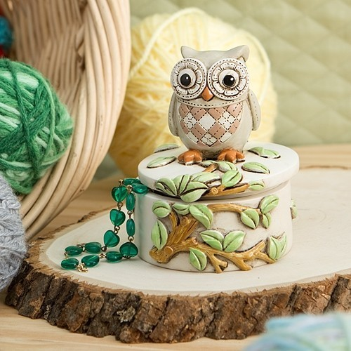 Wide-Eyed Night Owl Perched on a Branch Trinket Box