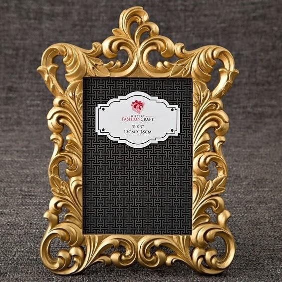 FashionCraft Gold Metallic Baroque Design Frame/Table Number Holder