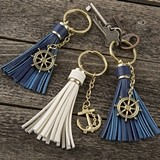 Tassel Key Chains with Anchor or Ship's Wheel Charm (Set of 16)