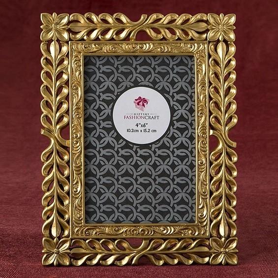 FashionCraft Magnificent Gold Finish Lattice Work Design 4x6 Frame