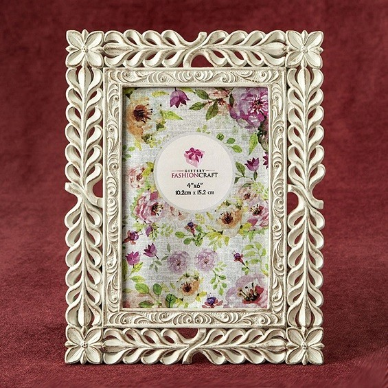 FashionCraft Elegant Ivory with Rose Gold Rub Lattice Design 4x6 Frame