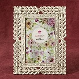 FashionCraft Elegant Ivory with Rose Gold Rub Lattice Design 4x6 Frame