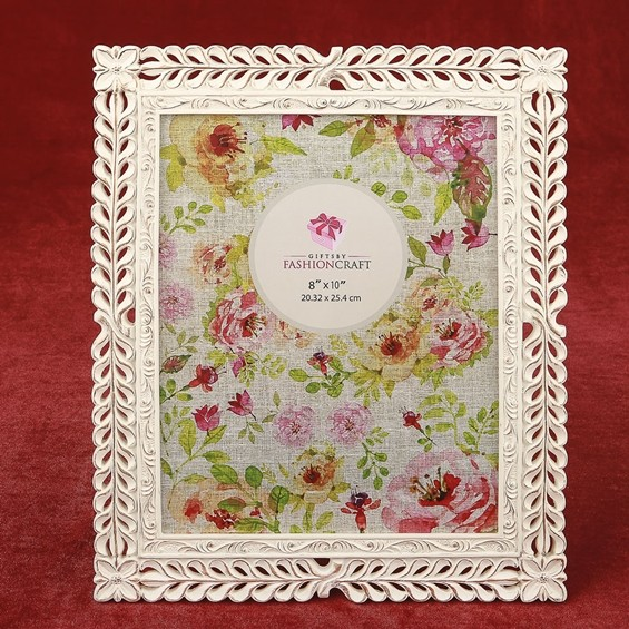 FashionCraft Ivory with Rose Gold Rub Lattice Design 8 x 10 Frame