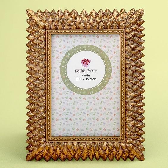 FashionCraft Brushed Gold Leaf Design 4 x 6 Frame