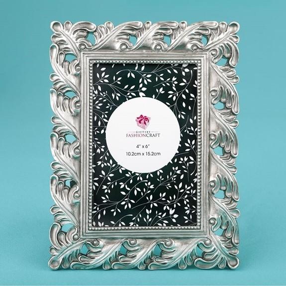 FashionCraft Magnificent Antique Silver Leaf Design 4x6 Frame