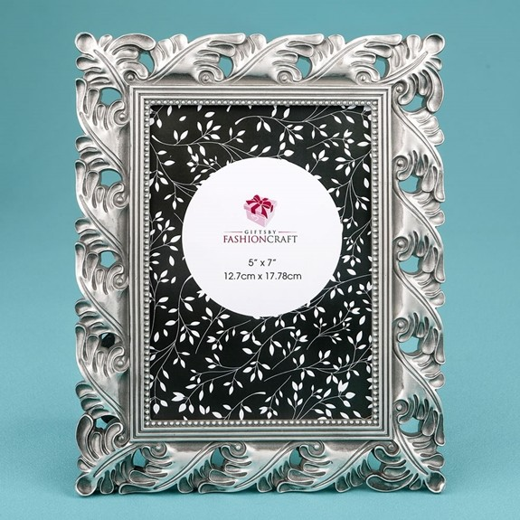 FashionCraft Exquisite Antique Silver Leaf Design 5 x 7 Frame