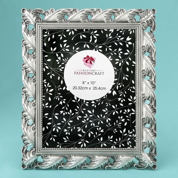 FashionCraft Stunning Antique Silver Leaf Design 8 x 10 Frame