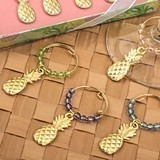 Tropical Golden-Pineapple Wine Charms with Colored Beads (Set of 4).