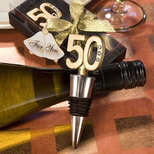 FashionCraft 50th Anniversary Wine Bottle Stopper Favor